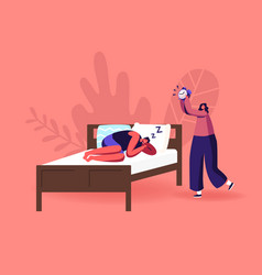 night rest dream or bedding time concept man vector image