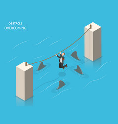 Obstacles overcoming flat isometric concept vector