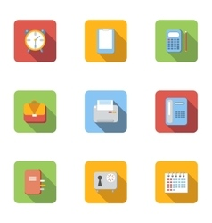 Office supplies icons set flat style vector