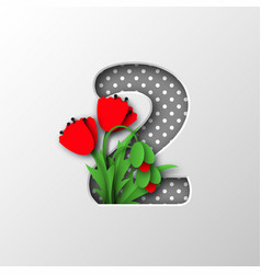 paper cut number 2 with poppy flowers vector image