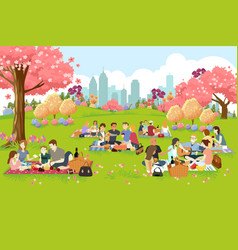 people having picnic at park during spring vector image