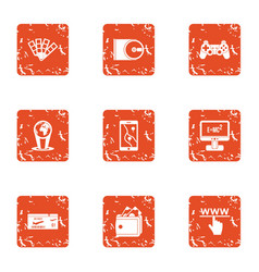 Physical law icons set grunge style vector