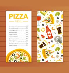 Pizza menu template traditional italian cuisine vector