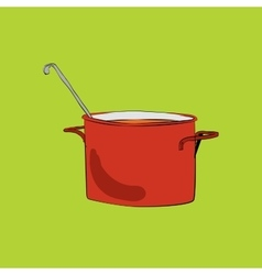 Pot with ladle vector