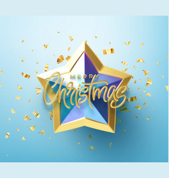 realistic shiny 3d golden inscription merry vector image