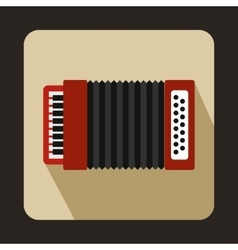 Red accordion icon flat style vector image
