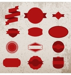Red Christmas Labels Set on grunge Background vector image