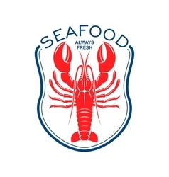 Red lobster icon for seafood restaurant design vector image
