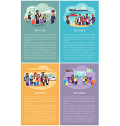 Refugees posters collection vector