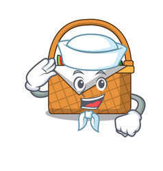 Sailor picnic basket character cartoon vector