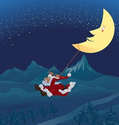 Santa swinging rope tie up with crescent moon in vector image