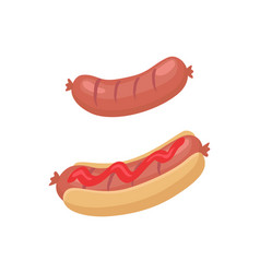 Sausage for barbecue and hot dog in cartoon style vector