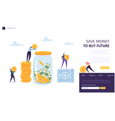 Save money safe landing page template vector