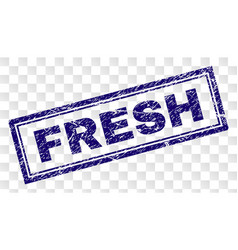 Scratched fresh rectangle stamp vector
