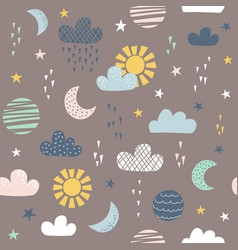 Seamless pattern for children with sun moon vector