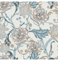 Seamless pattern with blooming peony vector image