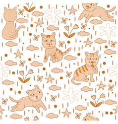 Seamless pattern yellow cats wallpaper background vector
