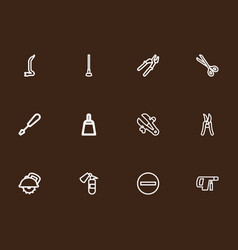 Set of 12 editable instrument outline icons vector