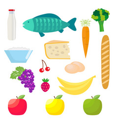 Set of healthy food products fish and dairy vector