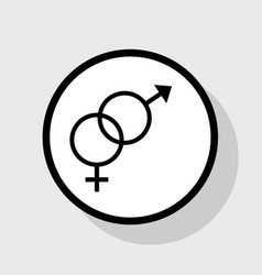 sex symbol sign flat black icon in white vector image