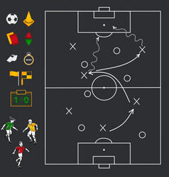Soccer football field with icon set vector