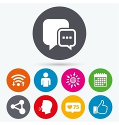 Social media icons Chat speech bubble and Share vector image vector image