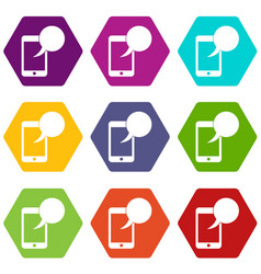 speech bubble on phone icon set color hexahedron vector image