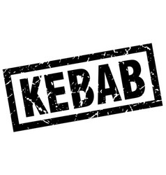Square grunge black kebab stamp vector