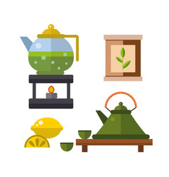 Tea ceremony traditional asian drink vector