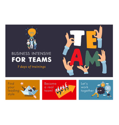 Teamwork horizontal banners vector