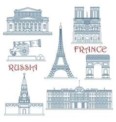 Thin line Russia and France landmarks vector