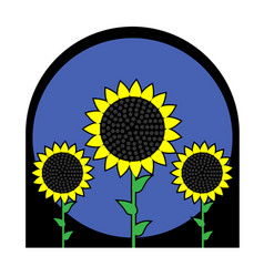 three sunflowers in a frame on a white isolated vector image