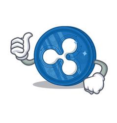 Thumbs up ripple coin character cartoon vector