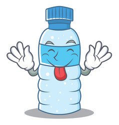 Tongue out bottle character cartoon style vector