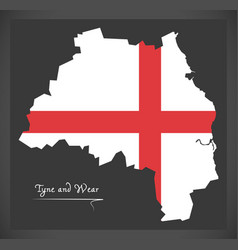 Tyne and wear map england uk with english vector