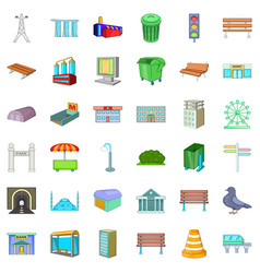 Urban icons set cartoon style vector