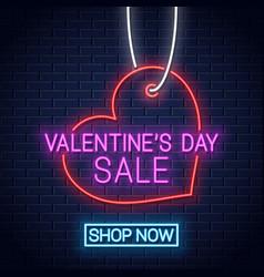 valentines day sale neon banner valentines heart vector image