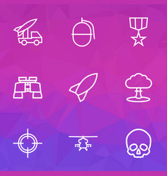 Warfare icons line style set with skull vector