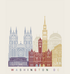 washinton dc v2 skyline poster vector image