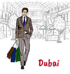 Woman in shopping mall in dubai vector