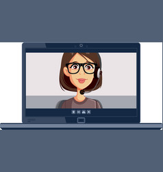 woman wearing headset attending video conference vector image