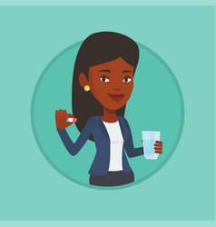 young african-american woman taking pills vector image