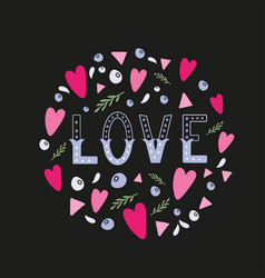 love hand written word with decor elements vector image vector image