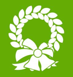 merry christmas wreath icon green vector image vector image