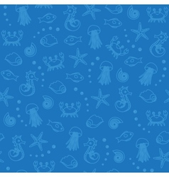 Sea life seamless pattern in blue vector image vector image