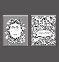 vintage floral wedding invitation cards vector image