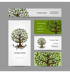 Business cards set with cosmetic tree design vector image