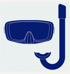 Dive mask and tube for diving icon vector
