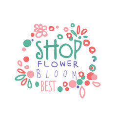 flower shop bloom best logo template hand drawn vector image vector image