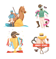 horse riding retro cartoon compositions vector image vector image